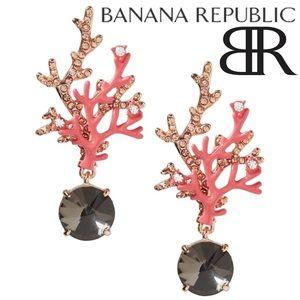 Banana Republic Coral Rose Gold Earrings • NWT